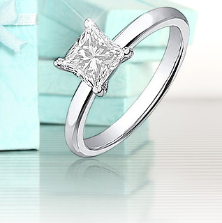 3/4 Carat Certified Princess Cut Diamond 14K White Gold Solitaire Engagement Ring!