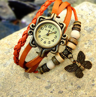Vintage Style Butterfly or Leaf Charm Faux Leather Beaded Strap Ladies' Watch in Assorted Colors!