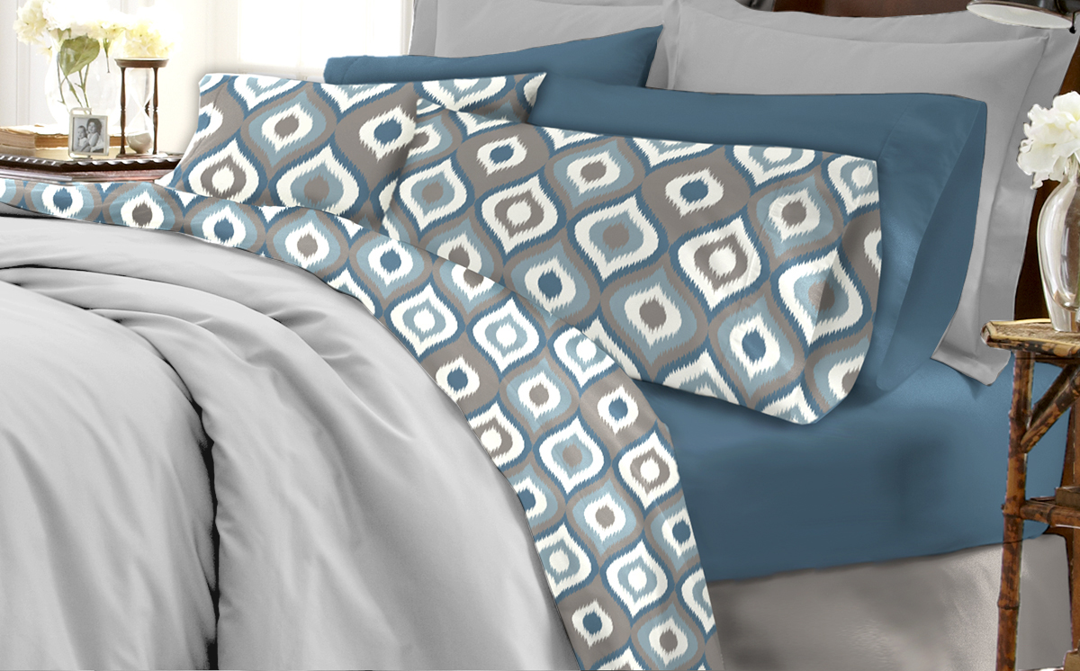 Sheet Set+Pillowcases - Twin - Blue - Embossed