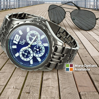 Yacht Men's Gunmetal Watch & Aviator Sunglasses Set – Choice of Black or Blue Dial, 3 ATM Water Resistant!