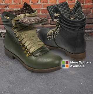 Henry Ferrera Short Ankle Lace Up Ladies' Fashion Combat Boots in Black or Green – Sizes 6-11!