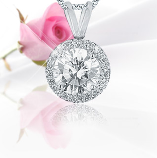 "SI2 Round Diamond Pendant w/18"" Chain"
