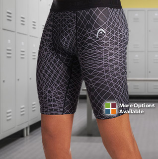 HEAD Sublimated Print Men's Compression Short w/ Elastic Waistband in Black or Cement – Sizes S-XXL!