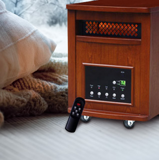 Lifesmart Oak Finished IR Heater w/ Digital Display, Remote Control, Timer, and Celsius/Fahrenheit Option!