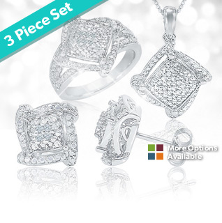 3-Piece Set: 1/5 Ct. Diamond Square Framed Silver Overlay w/Undulating Borders Pendant, Earring, & Ring!