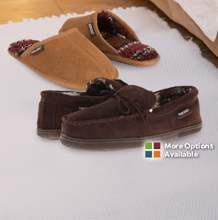 MUK LUKS Men's Slip-on Suede Scuffs or Clogs with Printed Berber Lining -Available in Beige or Brown!