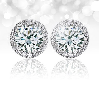 1 Carat F-G Diamond 14K White Gold Certified Halo Stud Earrings!