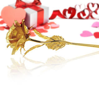 Valentine's Day Special! 99.9% Pure 24 Karat Gold Plated Rose with Certificate of Authenticity W/Gift Box!