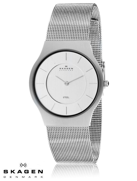 Skagen Denmark Steel Collection Ultra Thin Case Silver Dial Stainless Steel Mesh Bracelet Men's Watch 233LSS