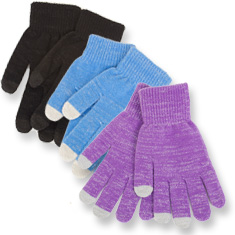 3-Pk: Ladies' Texting Gloves