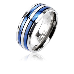 Blue IP Double Striped Ring