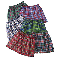 10-Pk: Boys' Plaid Boxers