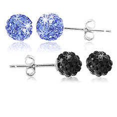 Blue & Black Crystal Studs
