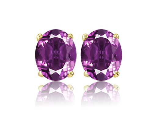 2 Ct Amethyst Stud Earrings in Gold-Plated Sterling Silver!  Amethsyt_gold_oval-1