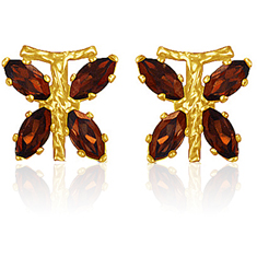 3/4 Ct Garnet Earrings