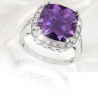 6.05 Carat Amethyst & Cubic Cocktail Ring