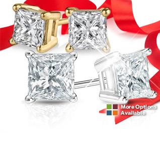 1 Carat Princess Cut Diamond 14K White or Yellow Gold Stud Earrings!