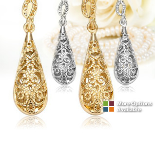 18K Gold or White Gold Water Drop Earrings