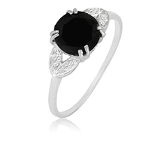 2 Ct Black Spinel Ring