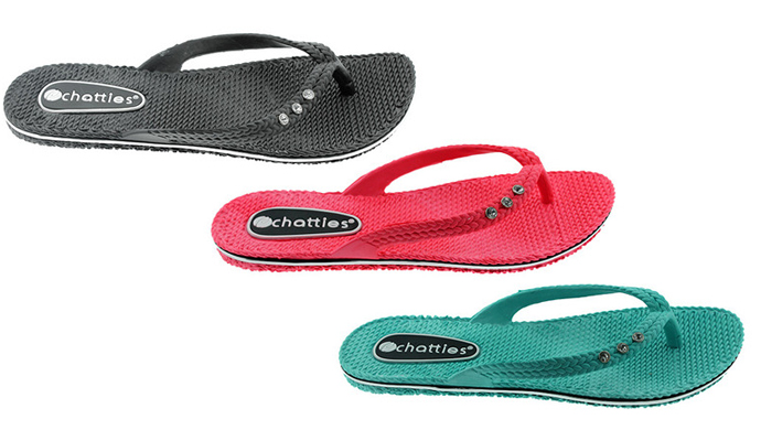 af34ade8b6bf ZTL-4702-CSMBLK-main.jpg 1399048672. Add a little sparkle to your step with  two pair of the Chatties Comfort Flip Flops!