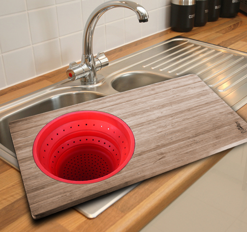 island bamboo over the sink cutting board w removable silicone colander ebay. Black Bedroom Furniture Sets. Home Design Ideas
