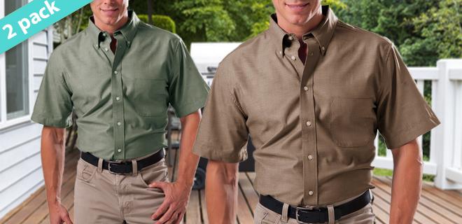 2-Pack: Zorrel Men's 100% Cotton Short Sleeve Chambray Shirts!