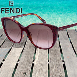 Fendi Cat's Eye Sunglasses w/ Light Havana/Red Finish, Carry Case & Cleaning Cloth!