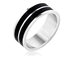 Black Striped Ring
