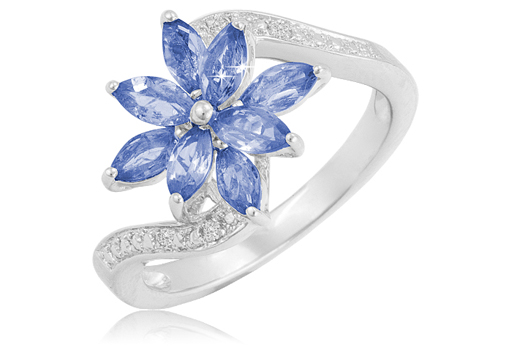 0.96 Ct Flower Ring
