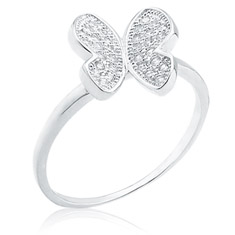 CZ Open Butterfly Ring