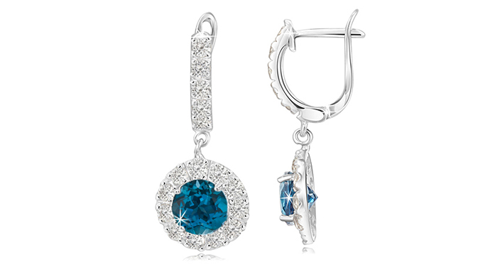 2.50 Carat London Blue & White Earrings