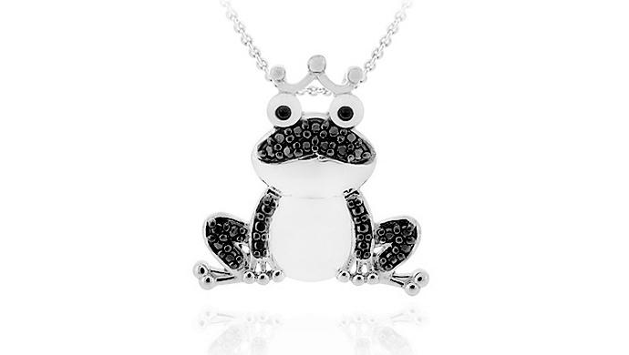 Black Diamond Silver Frog Pendant