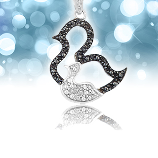 """Sterling Silver Duck Pendant 18"""" Chain"""
