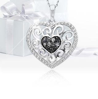 Black Diamond Silver Filigree Heart Pendant