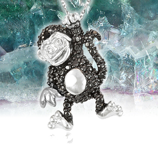 Black Diamond Monkey Pendant