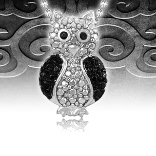 Black Diamond Accent Silver Owl Pendant