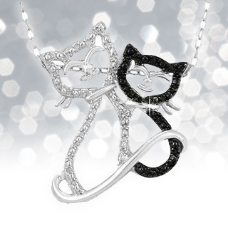 Black Diamond Double Cat Pendant