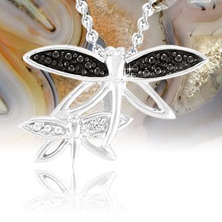 Sterling Silver Black Diamond Firefly Pendant