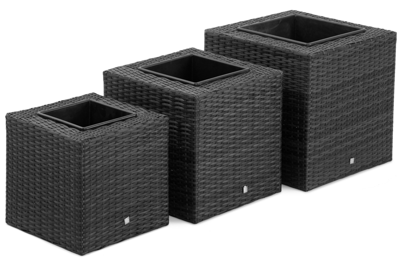 Maze Rattan Trio planter set in flat weave