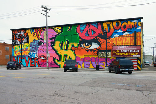 Mural in Detroit's Eastern Market by artist Denial