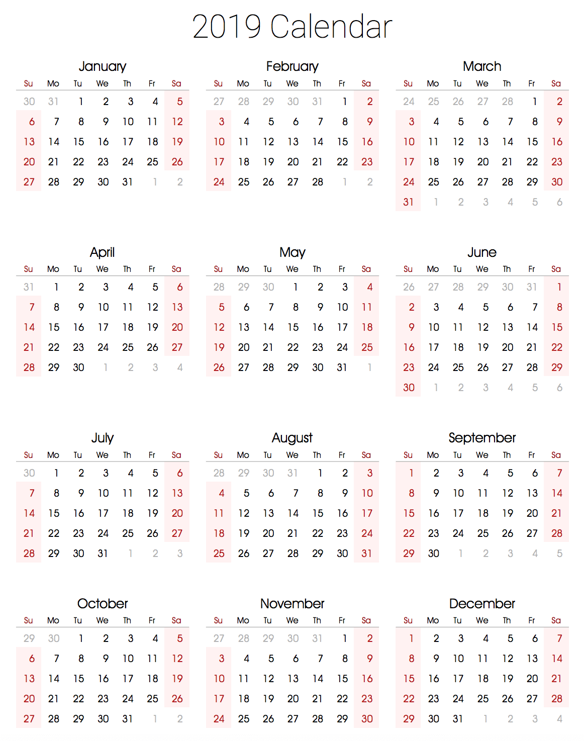 2019 calendar printable portrait template