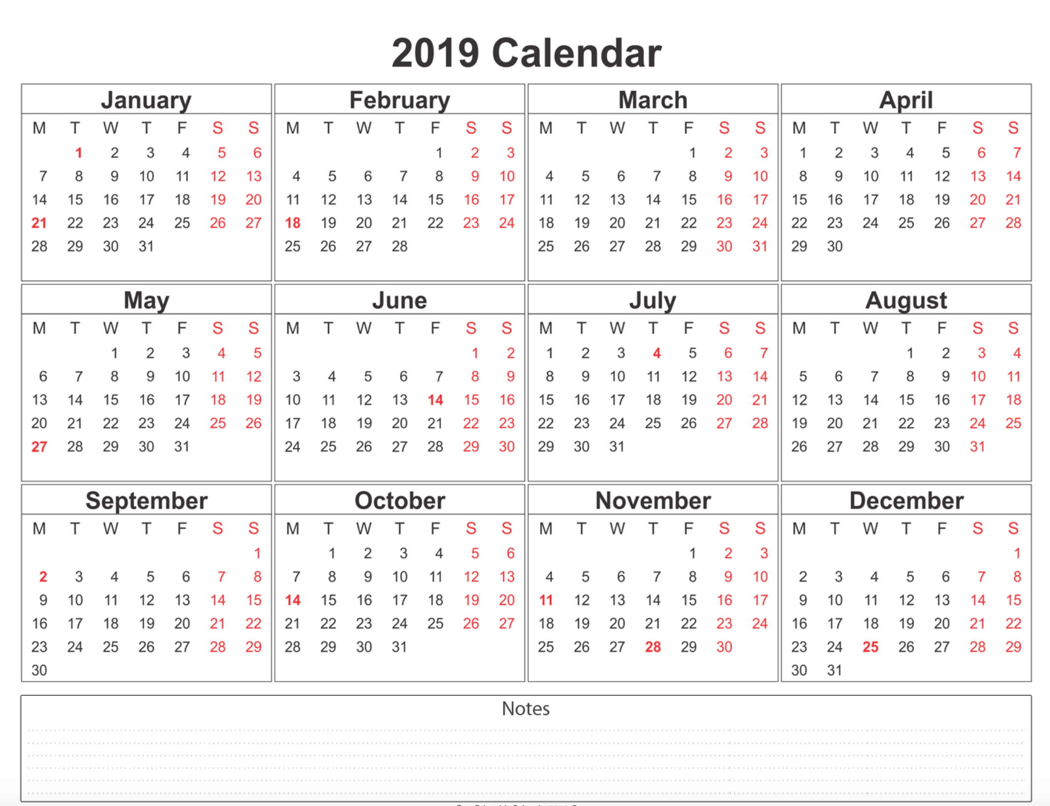 2019 blank calendar with extra notes space