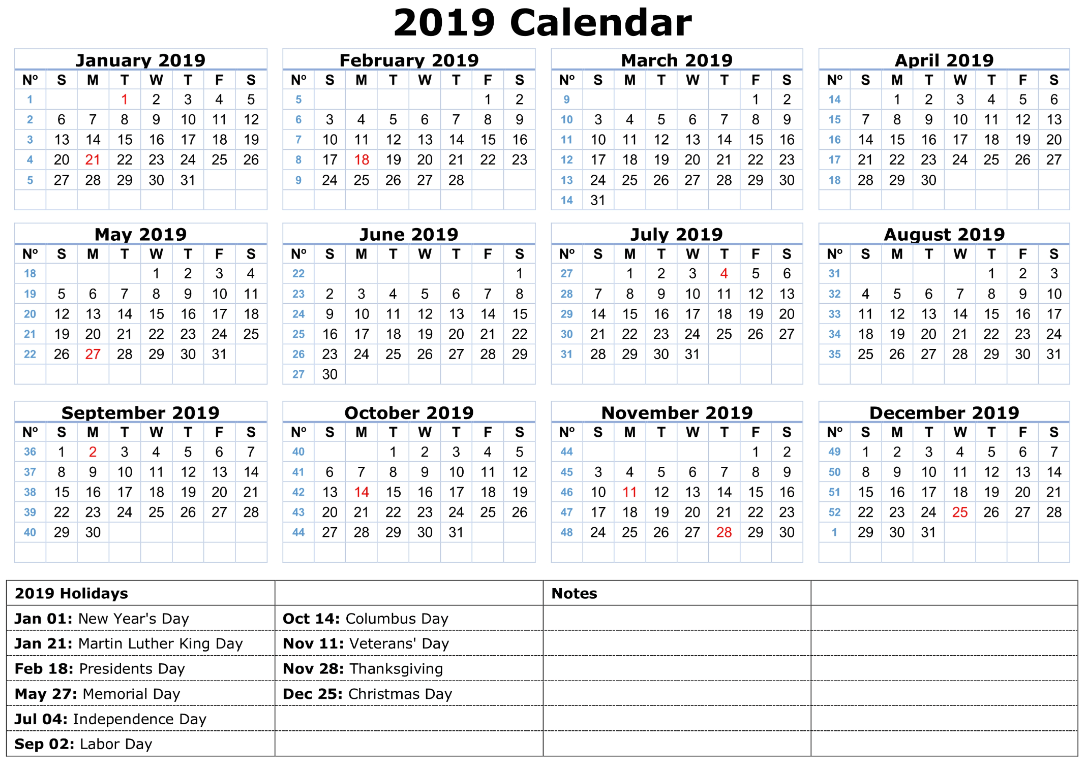 calendar of 2019 with holidays in us