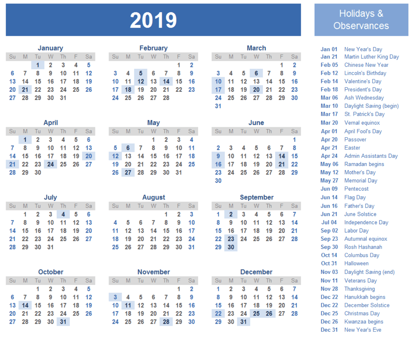 2019 calendar printable with holidays template