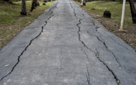 What causes cracks in an asphalt driveway?