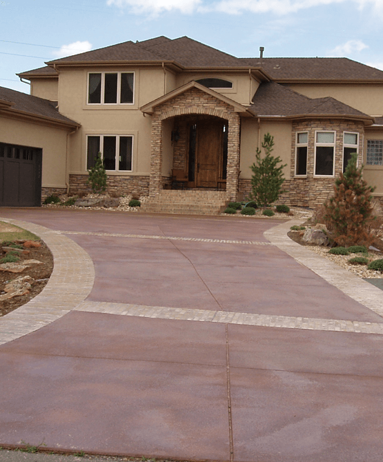 A beautiful concrete overlay driveway