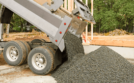 Gravel being dumped on a driveway