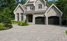 A brand new interlocking paver driveway