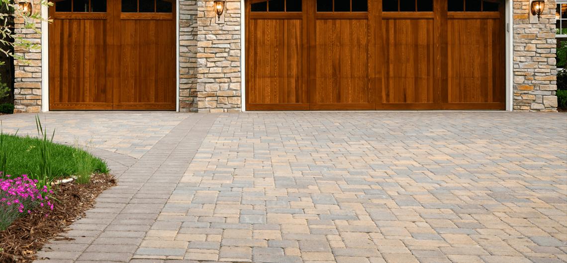 A brick paver driveway