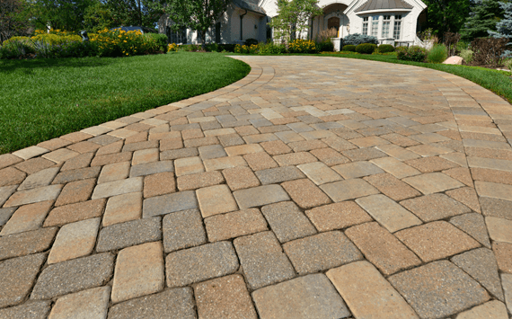 A newly installed interlocking pavers driveway by the best interlocking paver contractors
